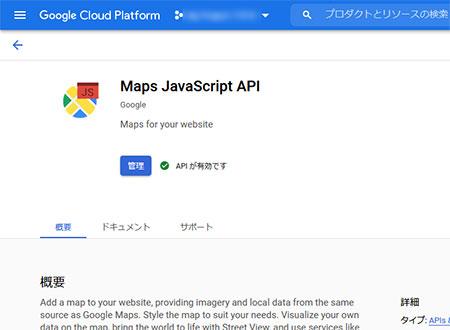 Maps JavaScript API を有効化する