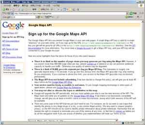 Google Maps の同意画面と利用するサイト URL の入力
