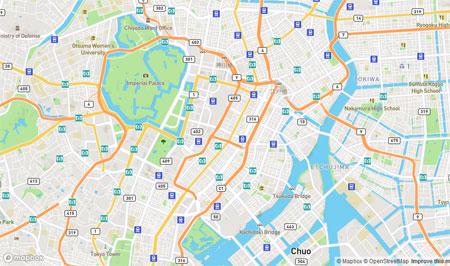 Mapbox の東京周辺の地図の様子