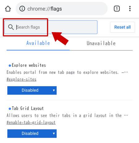 URL 欄に chrome://flags を入力する