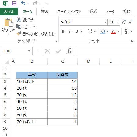 円グラフの元データを入力